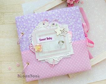 Baby Memory Book Girl Baby Album Personalized Baby Book Baby Photo Album Girl Scrapbook Handmade Album Baby Record Book Christening Album