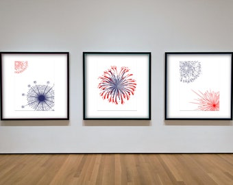 Fireworks Fourth of July Decor Set of 3 Files- DIY Downloadable Printable Wall Art