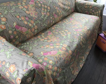 Chinoiserie SofaScarf /  Iman Home Magical Garden Couch Cover Only 1 Available