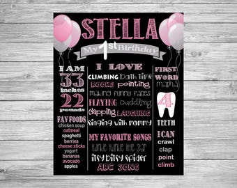 First Birthday Chalkboard/1st Birthday/First Birthday Chalkboard poster/Decorations/Pink balloons/Girl/grey/Printable Custom Sign