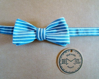 Bow tie adjustable blue white stripes on order