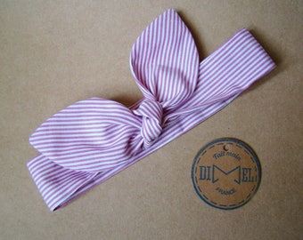 Headband tie stripes baby girl woman custom headband