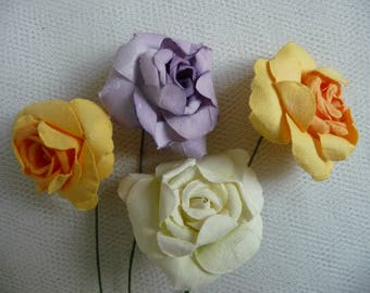 4 large paper flowers, purple, yellow, white