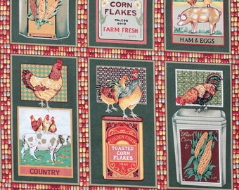 Rooster and chicken fabric called Good Morning America Patch.  This is a companion fabric to our rooster panel.