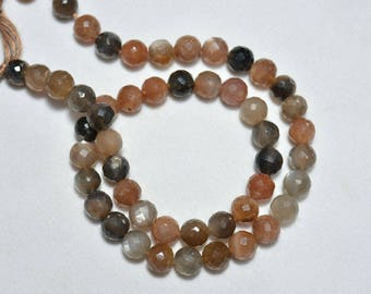 Multi Moonstone Beads, Faceted Round Beads, Multi Color Moonstone Round Beads, Gemstone For Jewelry 8mm, 7 Inches Strand