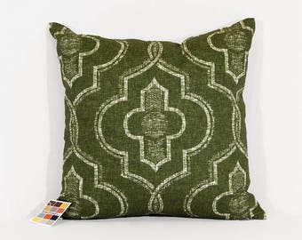 Juniper Green Pillow Cover in Newport Pattern with Zipper Closure, Juniper Green and White Print Pillow Cover, Green Throw Pillow Cover