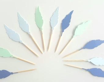 10 Dekorationen für Cupcakes (Cupcake Topper) - blau-grünen Federn Indianer