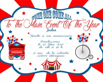 6 cards birthday invitation circus-red-blue-vintage - size 10 x 15 cm - printed and personalized