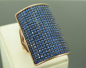 925 Sterling Silver Sapphire Stone Women Ring