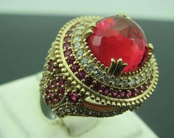 Turkish Handmade Jewelry 925 Sterling Silver Ruby Stone Ladies' Ring Sz 8