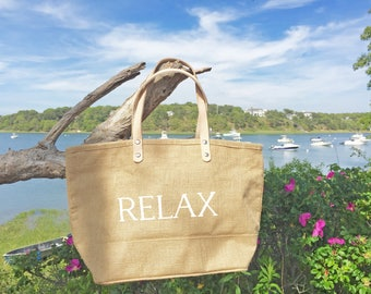 Escape or Relax jute tote bag