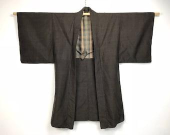 D988 Vintage Japanese Haori Kimono Mens Wool Cardigan Jacket Brown