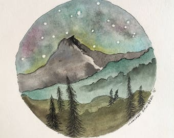Mountain scape Watercolor and Ink