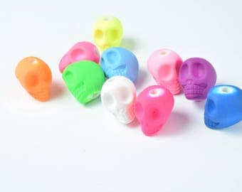 11x14mm Matte Rubberized Plastic Skull Beads, Plastic Skull beads,Acrylic Skull Beads,Acrylic Beads,Necklace beads,Rubberized Beads Jewelry