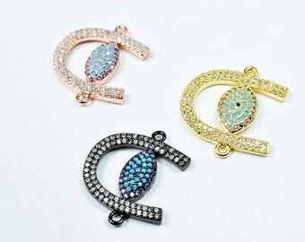 Horse Shoe Evil Eye Micro Pave CZ Rhinestone Connector Beads High Quality Horizontal Hole 3 Colors