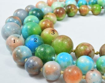 Mixed Agate Smooth Cut Beads Colorful Mixed Size Strands,Mix Agate Stone Beads Sold by 1 strand of  37pcs, Mixed beads sizes, 62.4grams/pk,