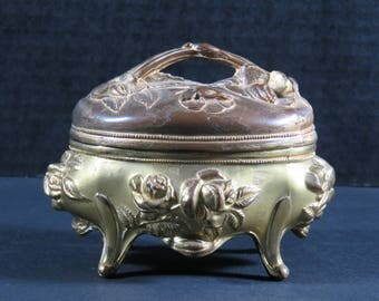 Antique Art Nouveau B&W #172/170  Jewelry Box Dresser Casket Pink Silk Lined
