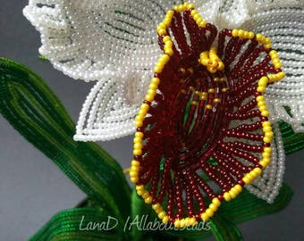 Handmade French Beaded Orchid Cattleya.