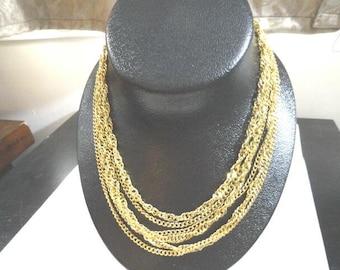 Vintage Crown Trifari Gold Tone Multi Strand Necklace 17 Inches 1 Inch Wide