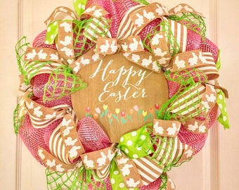 Easter Mesh Wreath, Whimsical Easter Wreath, Modern Easter Wreath, Easter Wreath, Easter Decor, Easter Door, Ready to Ship Easter Wreath