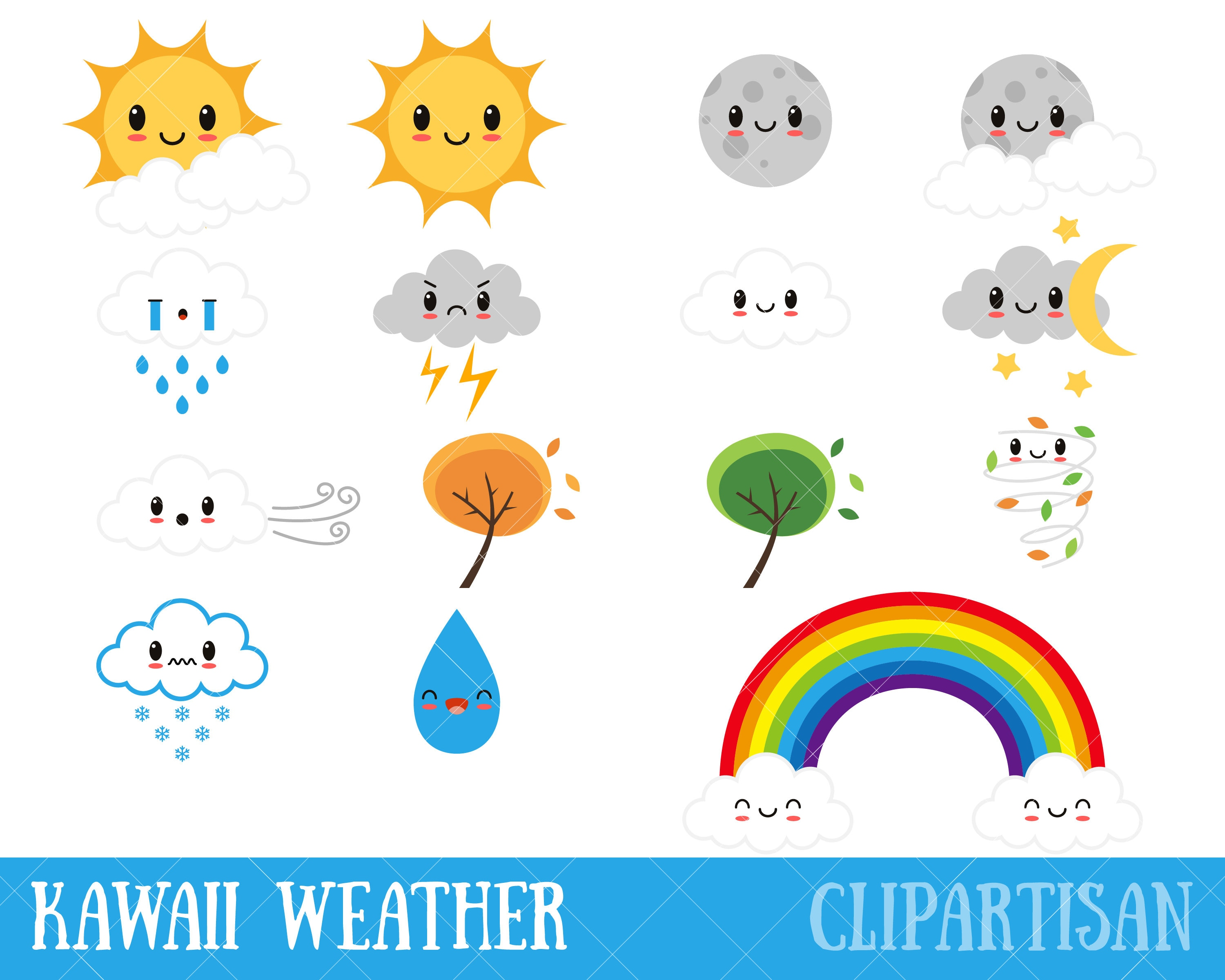 kawaii weather clipart happy weather cute weather