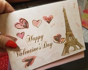Eiffel Tower Happy Valentine's Day Greeting Card