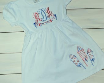 4th of July Dress - Vintage Embroidery 4th of July Dress - Toddler Red White and Blue Outfit - Toddler Patriotic Dress - 4th of July Dress