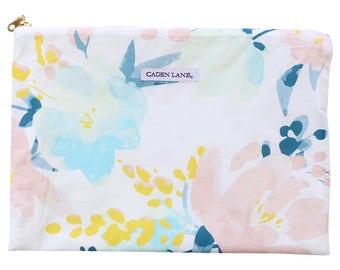 Isla's Fresh Floral Zippered Wet Bag  | Mint & Navy Baby Girl Travel Bag | Cloth Diaper Zip Pouch |  Water-Resistant Bag | Baby Mess Bag