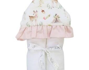 Blakely's Boho Deer | Full Size Toddler Hooded Towel | Deer and Teepee | Baby Shower Gift | Girl Shower Gift