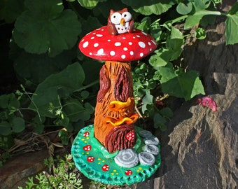 Toadstool log owl fairy house, woodland garden art