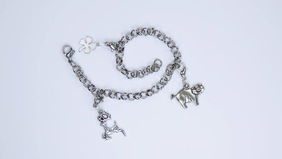 Bracelet 3 silver pendant reindeer lucky clover charm bracelet Lucky Shamrock New Year gift to Santa Claus Christmas