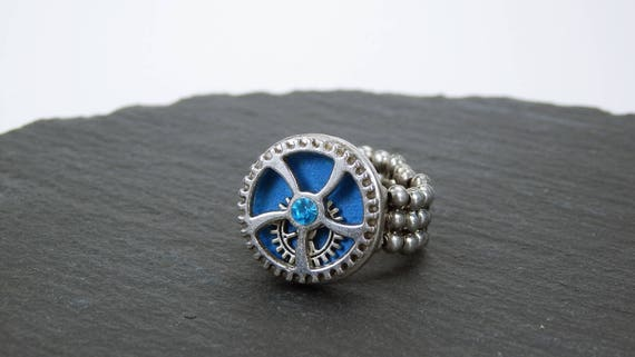 Ring gear steampunk ring in blue with silver-colored gear and blue rhinestone-steampunk gears with elastic ring ribbon