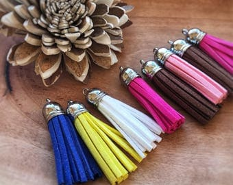 Suede Tassels, tassels with brass ends, tassel pendants, keychain tassels, cellphone straps,mixed colors