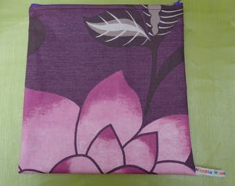 Purple Flower  Top Zip  Fabric Large Poppins Waterproof Lined Zip Pouch - Sandwich bag - Eco - Snack Bag - Bikini Bag - Lunch Bag - Swim Bag