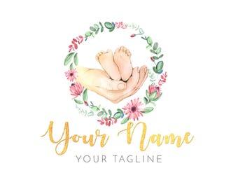 Premade Watercolor Logo Design - Baby Logo  - Doula Logo - Boho Logo - Newborn Logo - Newborn Photography Logo - Baby Photography Logo
