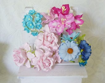 Rose poysian daisy lily 25 pcs.mixed Blue pink Paper flower Mulberry paper Flower with wire stems Flower paper Scrapbook Embellishment .