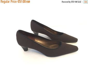 WEEKEND40%OFF Vtg 80s 90s Peter Kaiser Brown Textile Upper Pumps