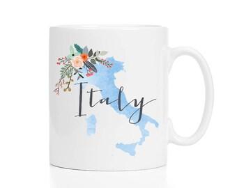 Italy Mug / Custom Name Mug / Personalized Italy Mug / Italy Map Mug / Italian Decor / 11 or 15 oz / White or Black Handle
