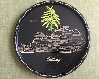Kentucky Tray, Black Souvenir Tin Tray with Kentucky Map