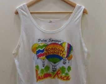 15% DISCOUNT PROMOTION Vintage rare 80's singlets palm spring GORDON Bennet ballon race 1989
