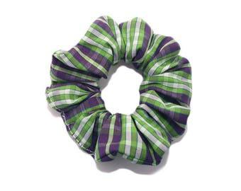 Small green Tartan Plaid hair scrunchie.