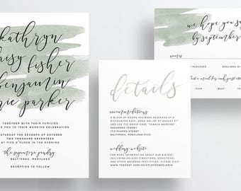 watercolor wash calligraphy wedding invitations // moss green sage green watercolor splash invites // earthy wedding // printable // custom