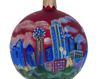 "3.25"" Dallas, Texas Glass Ball Christmas Ornament"