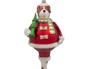 "6.5"" Chubby  Dog in a Hat with Christmas Tree Mouth Blown Glass Ornament"