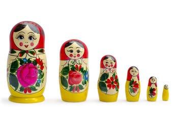 "5.5"" Set of 6 Traditional Semenov Matryoshka Wooden Russian Nesting Dolls"