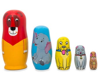 "5.75"" Lion, Elephant, Dog & Cat Animals Wooden Russian Nesting Dolls"