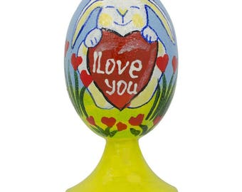"3.5"" Bunny with ""I Love You"" Valentine Heart Wooden Figurine"