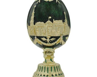 "2.75"" St. Petersburg Green Enamel Faberge Inspired Russian Easter Egg"
