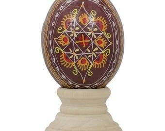 Brown Geometric Ukrainian Wooden Easter Egg