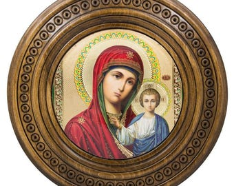 "10"" Virgin Mary with Jesus Icon on Wooden Hand Carved Plaque"
